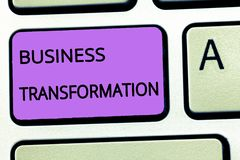 Word het schrijven tekst Bedrijfstransformatie Het bedrijfsconcept voor Align hun Handel modelleert met de Strategieverbetering royalty-vrije stock afbeeldingen