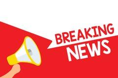 Word het schrijven tekst Brekend Nieuws Bedrijfsconcept voor Speciaal Rapportaankondiging het Gebeuren de Huidige luide Megafoon  vector illustratie