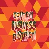 Word het schrijven tekst Centraal Bedrijfsdistrict Bedrijfsconcept voor commercieel en commercieel centrum van een stadsgebrandsc stock illustratie