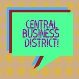 Word het schrijven tekst Centraal Bedrijfsdistrict Bedrijfsconcept voor commercieel en commercieel centrum van een stadsstapel va vector illustratie