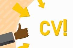 Word het schrijven tekst Cv Het bedrijfsconcept voor Curriculum vitae hervat Infographics-Baan Zoekend de Hand van de Werknemersr stock illustratie