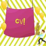 Word het schrijven tekst Cv Het bedrijfsconcept voor Curriculum vitae hervat Infographics-Baan Zoekend de Mens van de Werknemersr royalty-vrije illustratie