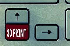 Word het schrijven tekst 3D Druk Bedrijfsconcept voor Geavanceerde de Vervaardigingstechnologie van Druktridimensional dingen royalty-vrije illustratie