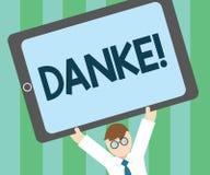 Word het schrijven tekst Danke Het bedrijfsconcept voor gebruikt als informele manier om te zeggen dankt u in het Duitstalige Dan royalty-vrije illustratie