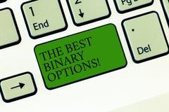 Word het schrijven tekst de Beste Binaire Opties Het bedrijfsconcept voor Grote financiële optie bevestigde monetair bedragentoet stock afbeeldingen