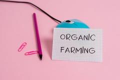 Word het schrijven tekst de Organische Landbouw Bedrijfsconcept voor een ge?ntegreerd de landbouwsysteem dat voor duurzaamheid st stock foto's