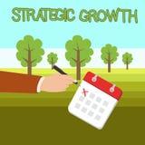 Word het schrijven tekst de Strategische Groei Het bedrijfsconcept voor leidt tot plan of programma om voorraden of verbeteringsm stock fotografie