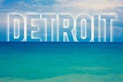 Word het schrijven tekst Detroit Bedrijfsconcept voor Stad in het Kapitaal van de Verenigde Staten van Amerika van Blauw het stra stock illustratie