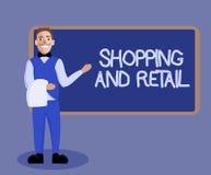 Word het schrijven tekst die en Kleinhandels winkelen Bedrijfsconcept voor Proces om de Consumptiegoederendiensten aan klanten Te vector illustratie