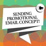 Word het schrijven tekst die Promotie E-mailconcept verzenden Het bedrijfsconcept voor online marketing moderne reclame vouwde 3D royalty-vrije illustratie