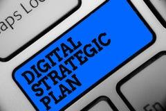 Word het schrijven tekst Digitaal Strategisch Plan Het bedrijfsconcept voor leidt tot programma voor de marketing van product of  stock fotografie
