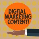 Word het schrijven tekst Digitale Marketing Inhoud Bedrijfsconcept voor het Verdelen van inhoud voor analyse van gericht publieks stock fotografie