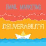 Word het schrijven tekst E-mail die Deliverability op de markt brengen Bedrijfsconcept voor Capaciteit om e-mail aan abonneesgolf royalty-vrije illustratie