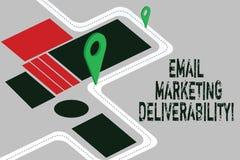 Word het schrijven tekst E-mail die Deliverability op de markt brengen Bedrijfsconcept voor Capaciteit om e-mail aan abonneesWege vector illustratie