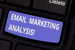 Word het schrijven tekst E-mail Marketing Analyse Bedrijfsconcept voor het Onderzoeken van het verzenden van berichten naar klant stock afbeelding