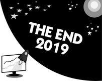 Word het schrijven tekst het Eind 2019 Bedrijfsconcept voor Gelukkige nieuwe jaarlaatste dagen 2018 Resolutiesviering vector illustratie