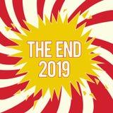 Word het schrijven tekst het Eind 2019 Bedrijfsconcept voor Gelukkige nieuwe jaarlaatste dagen 2018 Resolutiesviering stock illustratie