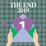 Word het schrijven tekst het Eind 2019 Bedrijfsconcept voor Gelukkige nieuwe jaarlaatste dagen 2018 Resolutiesviering royalty-vrije illustratie
