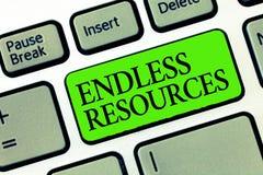 Word het schrijven tekst Eindeloze Middelen Bedrijfsconcept voor Onbeperkte levering van voorraden of financiële hulp stock foto's
