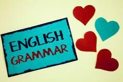 Word het schrijven tekst Engelse Grammatica Bedrijfsconcept voor van het de Schoolonderwijs van de Taalkennis van de de Literatuu Royalty-vrije Stock Foto's