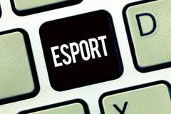 Word het schrijven tekst Esport Het bedrijfsconcept voor multiplayervideospelletje speelde concurrerend voor toeschouwers en pret stock foto's