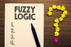 Word het schrijven tekst Fuzzy Logic Bedrijfsconcept voor controles voor omvang van vuil en vethoeveelheid zeep en waternotitiebo royalty-vrije stock afbeelding