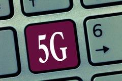 Word het schrijven tekst 5G Bedrijfsconcept voor Volgende generatie van mobiele netwerken na de 4G Snelle de snelheidsverbinding  royalty-vrije stock afbeeldingen