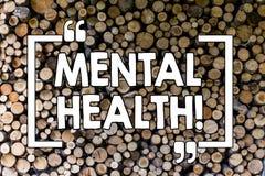 Word het schrijven tekst Geestelijke Gezondheid Bedrijfsconcept voor Psychologisch en Gevoelstoestandwelzijn van het aantonen stock afbeelding