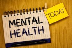 Word het schrijven tekst Geestelijke Gezondheid Bedrijfsconcept voor Psychologisch en Gevoelstoestandwelzijn van een persoon royalty-vrije stock afbeelding