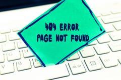 Word het schrijven tekst 404 Gevonden niet Foutenpagina Het bedrijfsconcept voor Webpagina op Server is verwijderd of bewogen stock afbeelding