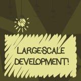 Word het schrijven tekst Grote Schaalontwikkeling Het bedrijfsconcept voor Develop op een uitgebreide basis groeit een stock illustratie