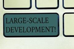 Word het schrijven tekst Grote Schaalontwikkeling Het bedrijfsconcept voor Develop op een uitgebreide basis groeit een Toetsenbor royalty-vrije stock afbeeldingen