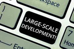 Word het schrijven tekst Grote Schaalontwikkeling Het bedrijfsconcept voor Develop op een uitgebreide basis groeit een Toetsenbor stock afbeeldingen