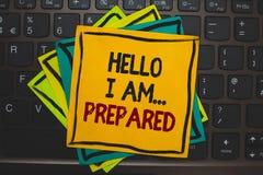 Word het schrijven tekst Hello ben ik prepared Het bedrijfsconcept voor introduceert zich aan iemand aangezien u klaar Veelvoudig royalty-vrije stock afbeeldingen