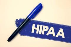 Word het schrijven tekst Hipaa Bedrijfsconcept voor van de Ziektekostenverzekeringportabiliteit en Verantwoordingsplicht Akte de  royalty-vrije stock foto