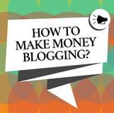 Word het schrijven tekst hoe te om Geld Bloggingquestion te maken Bedrijfsconcept voor moderne reclame Gevouwen 3D van Blogger on royalty-vrije illustratie