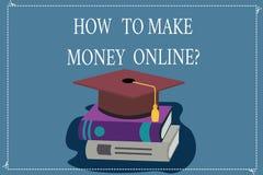 Word het schrijven tekst hoe te om Geld Onlinequestion te maken Bedrijfsconcept voor Strategieën om inkomens op Internet te krijg vector illustratie