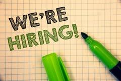 Word het schrijven tekst huren wij Motievenvraag Bedrijfsconcept voor Talent die Job Wanted Recruitment jagen stock foto