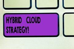 Word het schrijven tekst Hybride Wolkenstrategie Bedrijfsconcept voor Wolk gegevensverwerking het plaatsen die een mengeling van  stock afbeeldingen