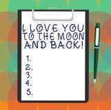 Word het schrijven tekst I Liefde u aan de Maan en de Rug Bedrijfsconcept voor het Uitdrukken van het roanalysistic Lege Blad van stock illustratie