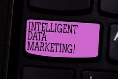 Word het schrijven tekst Intelligente Gegevens Marketing Het bedrijfsconcept voor Informatie relevant voor een doelrekening s is  royalty-vrije stock afbeeldingen