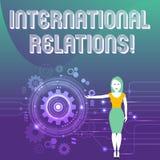 Word het schrijven tekst Internationale Relaties Bedrijfsconcept voor manier waarin twee of meer naties met Vrouw interactie aang royalty-vrije illustratie