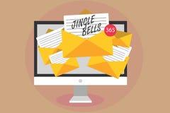 Word het schrijven tekst Jingle Bells Bedrijfsconcept voor het beroemdste traditionele de Computer van het Kerstmislied over de h royalty-vrije stock foto's