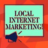 Word het schrijven tekst Lokale Internet-Marketing Bedrijfsconcept voor Bereik de klanten die aan u Megafoon dichtst zijn vector illustratie