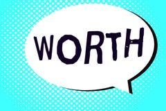 Word het schrijven tekst met een waarde van Het bedrijfsconcept voor equivalent in waarde aan sompunt specificeerde voldoende goe royalty-vrije illustratie