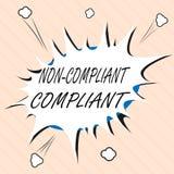 Word het schrijven tekst niet Volgzame Volgzaam Bedrijfsconcept voor Bestand tegen de Regel in overeenstemming met Wet stock illustratie