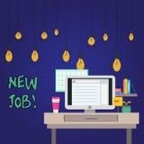 Word het schrijven tekst Nieuwe Baan Bedrijfsconcept voor onlangs positie van reguliere arbeidfoto van Binnenland betaald te hebb stock illustratie