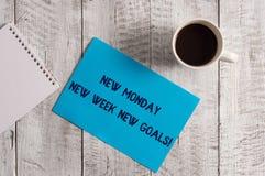 Word het schrijven tekst Nieuwe Maandag Nieuwe Week Nieuwe Doelstellingen Bedrijfsconcept voor vaarwel weekend die verse doelstel royalty-vrije stock afbeelding