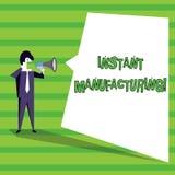 Word het schrijven tekst Onmiddellijke Productie Bedrijfsconcept voor Machines die direct producten van digitaal dossier maken vector illustratie