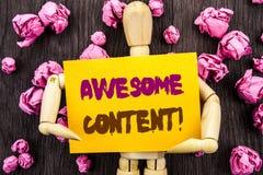 Word, het schrijven, tekst Ontzagwekkende Inhoud Het conceptuele Concept van de het Onderwijswebsite van de foto Creatieve die St royalty-vrije stock afbeelding